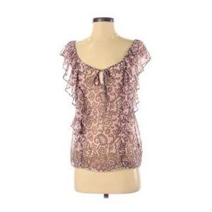 American Eagle pink paisley flutter sleeve blouse